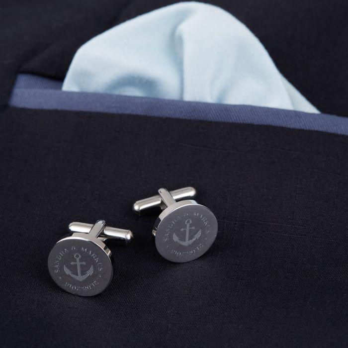 Manschettenknöpfe Silber zur Hochzeit - rund - Anker