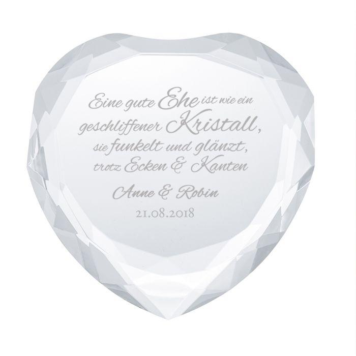 Herz-Diamant mit Gravur zur Hochzeit - Hochzeitsspruch