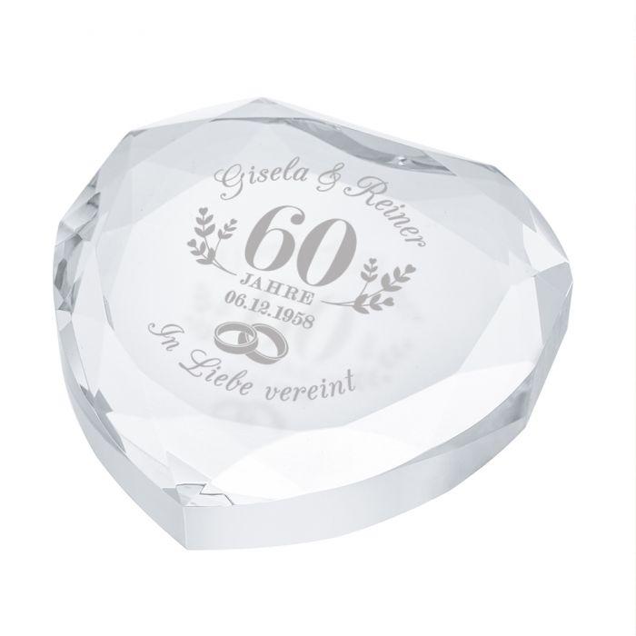 Herz-Diamant mit Gravur zur diamantenen Hochzeit