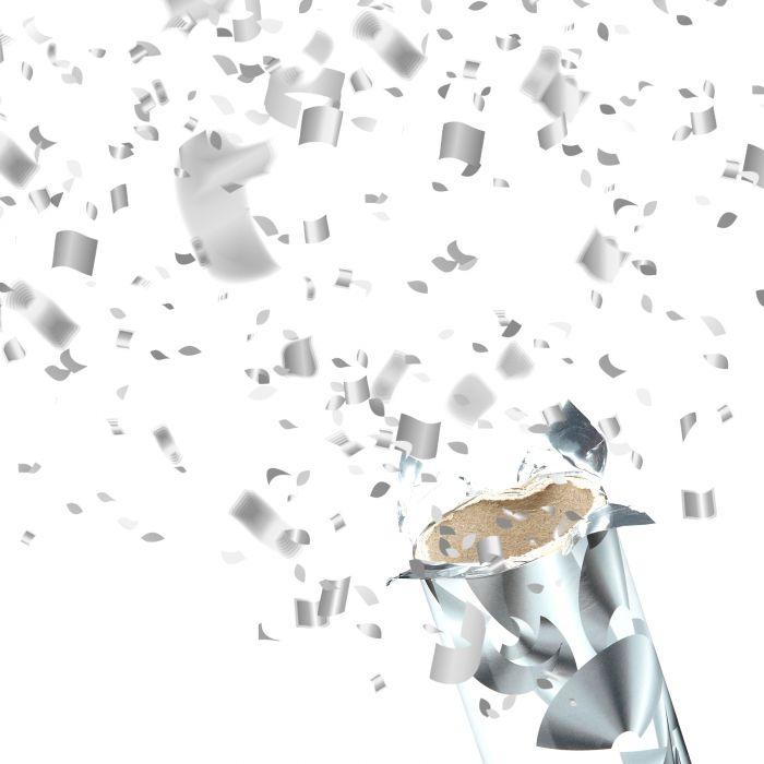 Konfettikanone 3er Set - Silberregen