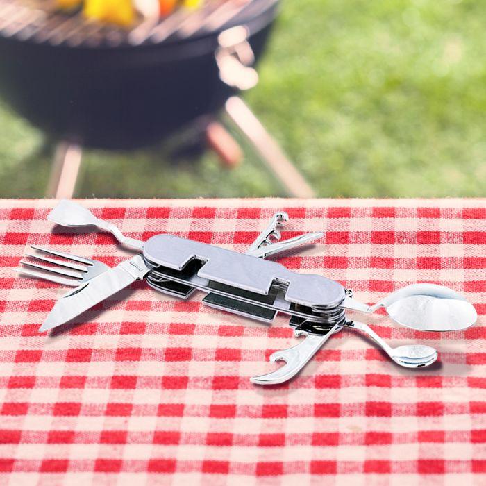 Campingbesteck 9in1 - Taschenmesser mit Essbesteck