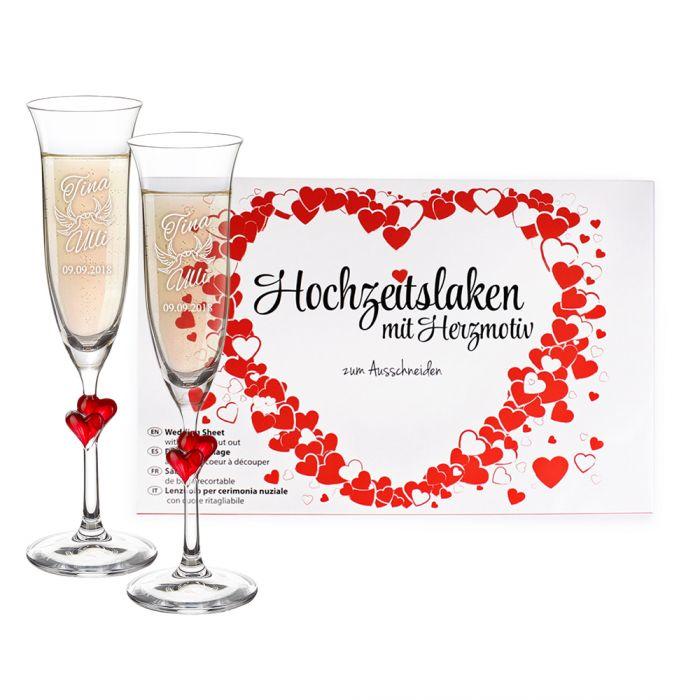 Hochzeitslaken Herzmotiv & Herzen Sektgläser - Liebestauben