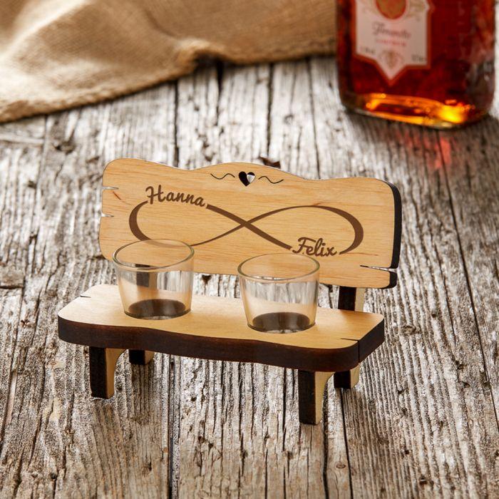 Personalisierte Schnapsbank für Paare - Unendlichkeitszeichen