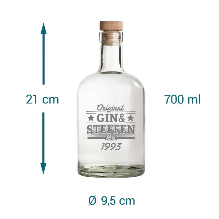 Glaskaraffe mit Gravur - Gin