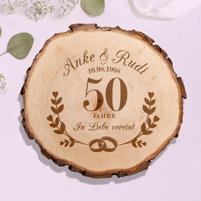 Baumscheibe mit Gravur zur Goldenen Hochzeit