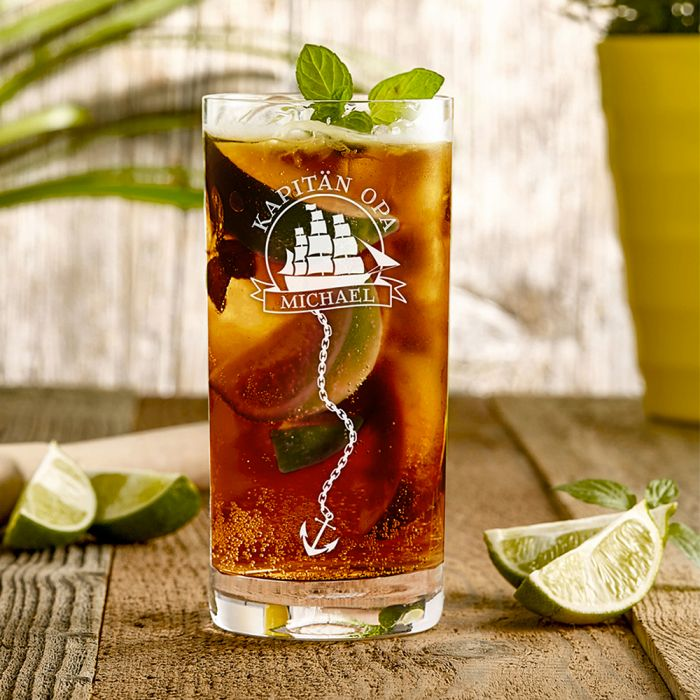 Cocktailglas mit Gravur für Opa - Segelschiff