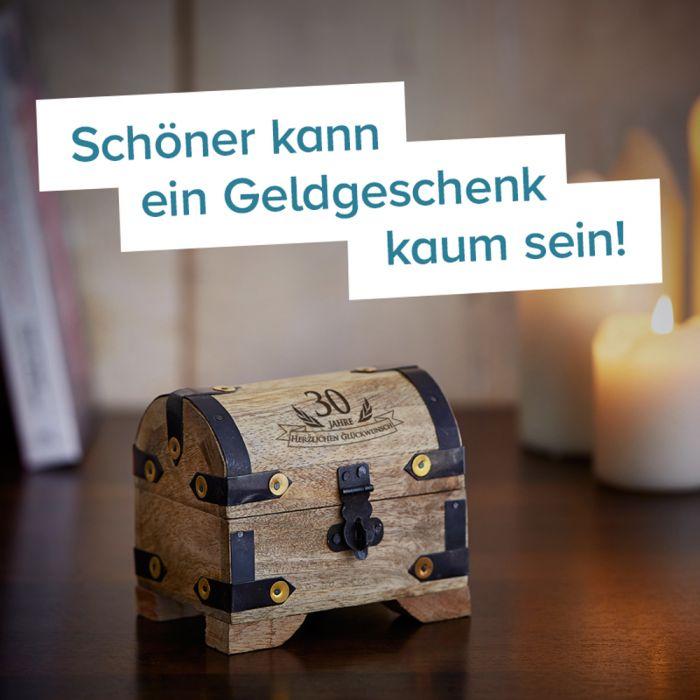 Mini Geld Schatztruhe zum 30. Geburtstag