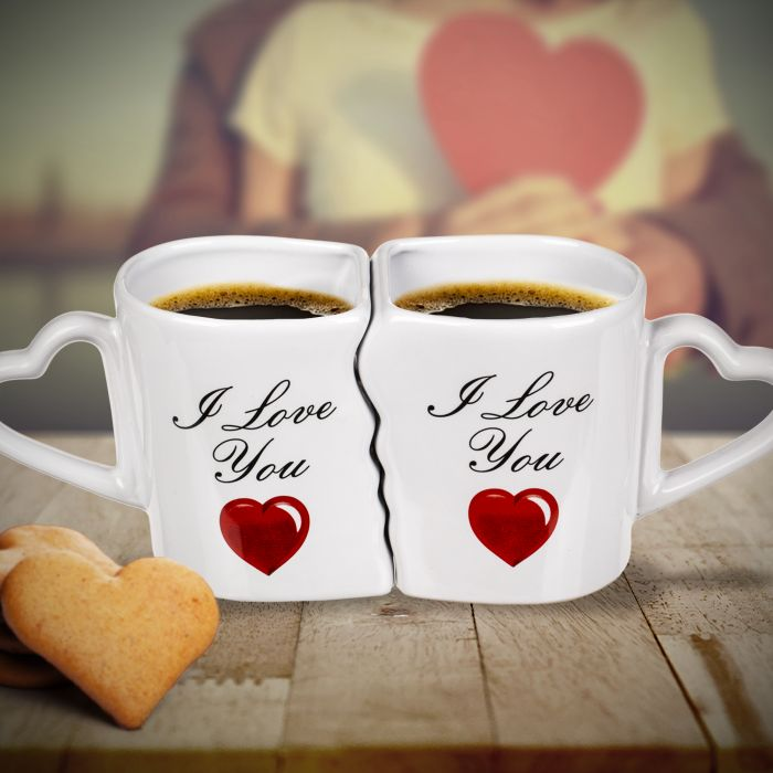 Kaffeebecher Set mit Herzen - I Love You