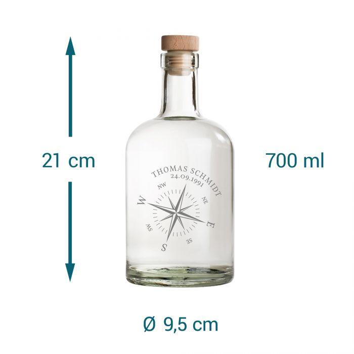 Glaskaraffe mit Gravur - Kompass