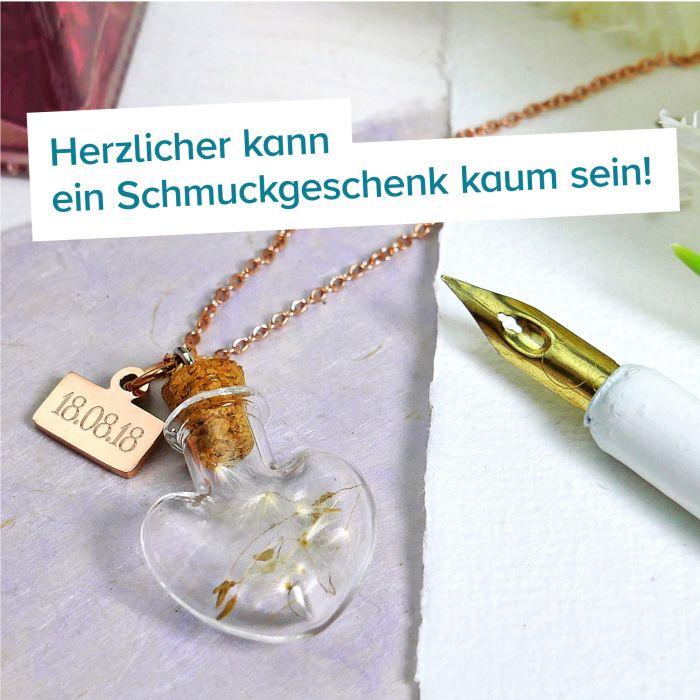Herz Kettenanhänger Flaschenpost Rosegold - Datum Gravur