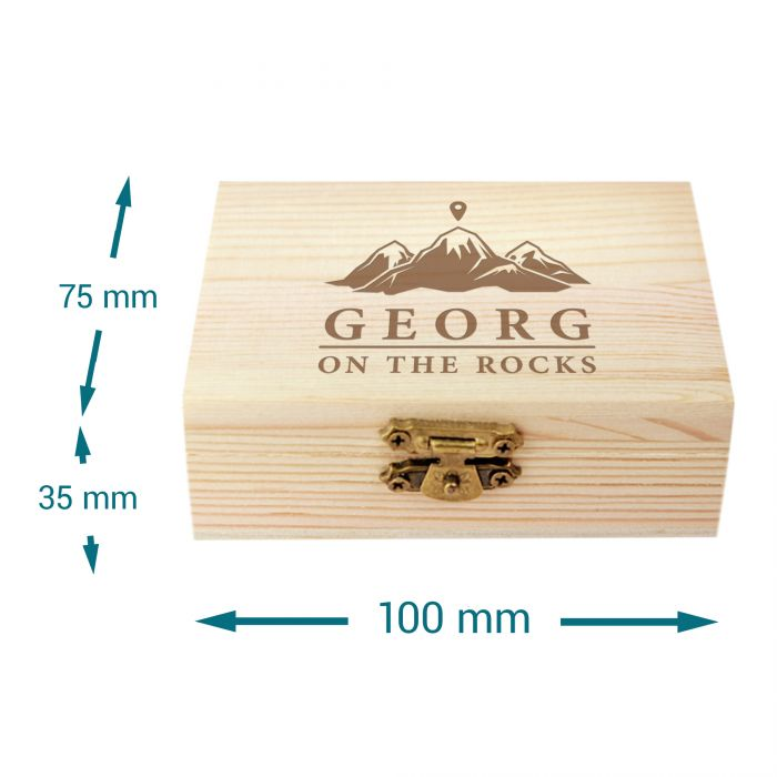 Whisky Steine in Holzkiste mit Gravur - On the Rocks