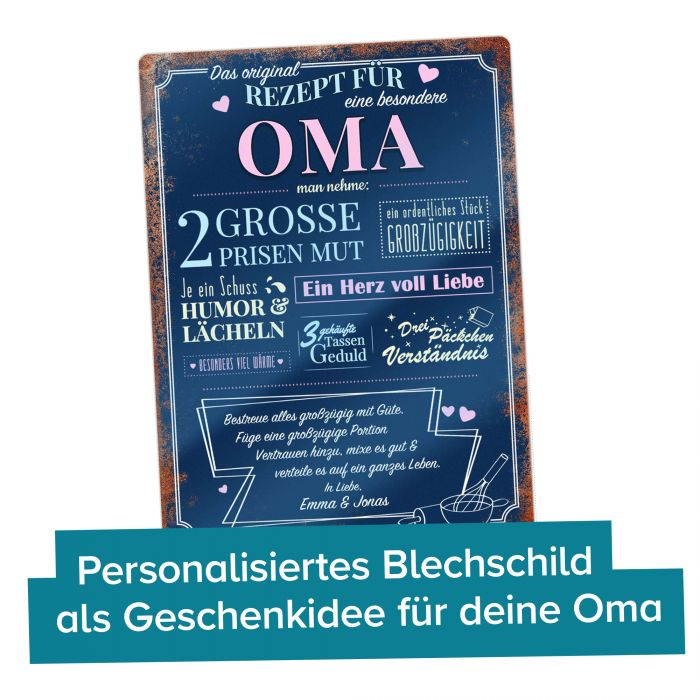 Personalisiertes Blechschild - Rezept Oma