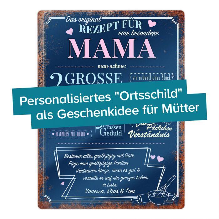 Personalisiertes Blechschild - Rezept Mama