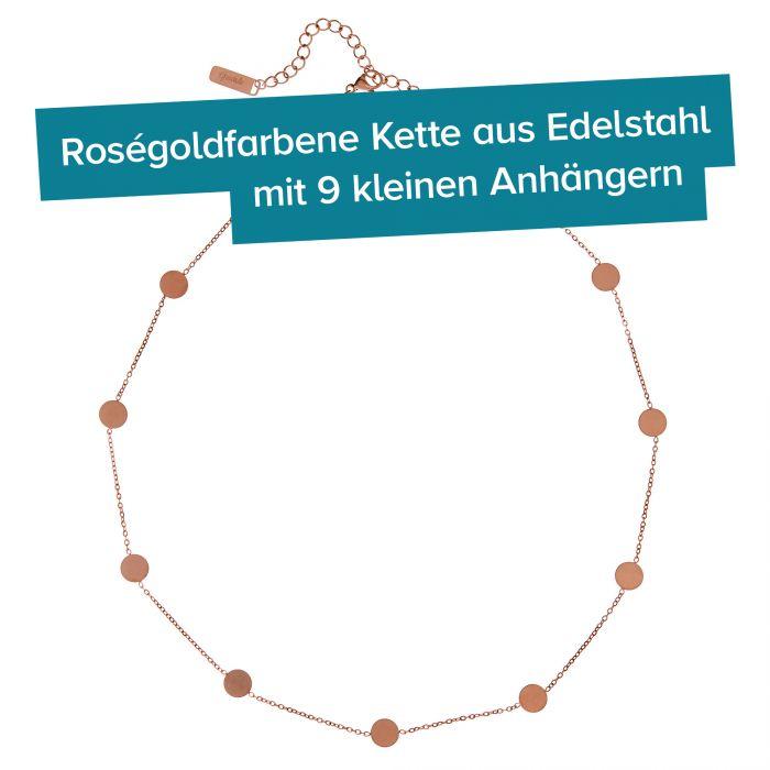 Layering Kette mit Plättchen - Rosegold