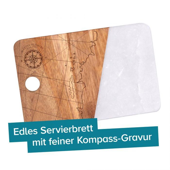 Servierbrett Akazie und Marmor mit Gravur - Kompass
