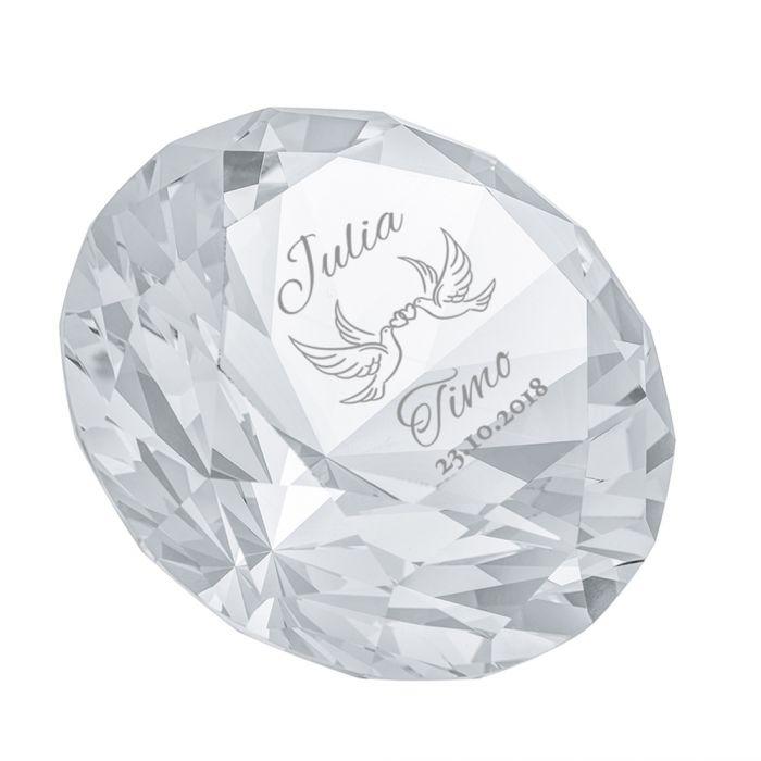 Diamant Kristall mit Gravur zur Hochzeit - Liebestauben