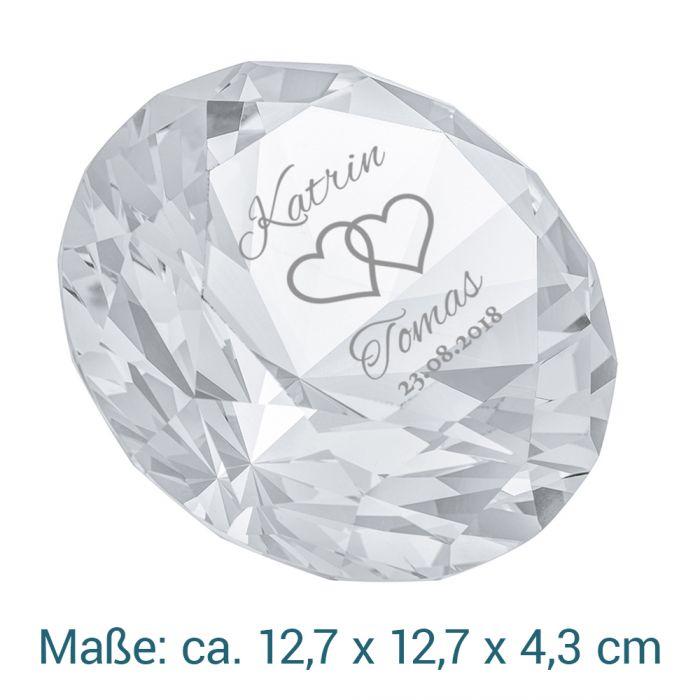 Diamant Kristall mit Gravur zur Hochzeit