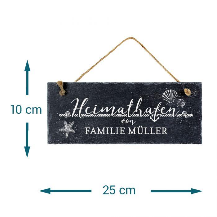 Schiefertafel mit Gravur für Familien - Heimathafen