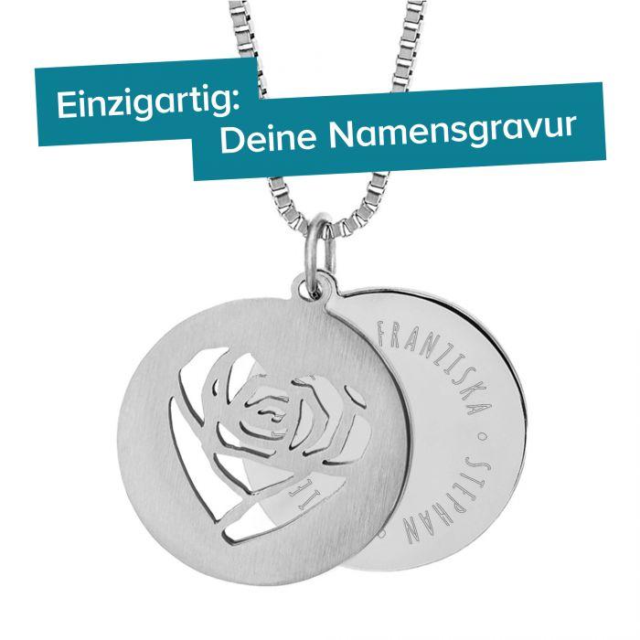 Runder Kettenanhänger Silber - Rosenherz und Namen