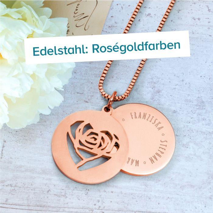 Runder Kettenanhänger Rosegold - Rosenherz und Namen