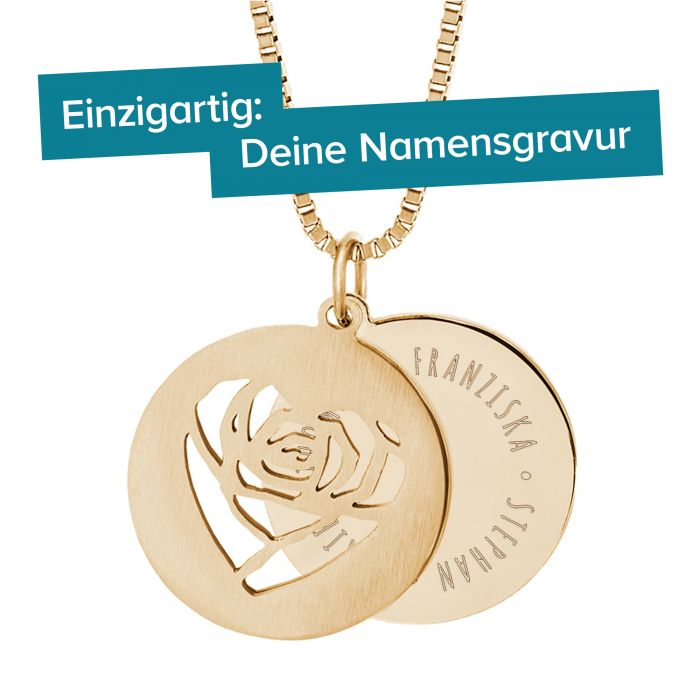 Runder Kettenanhänger Gold - Rosenherz und Namen