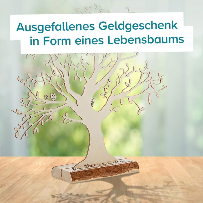Baum mit Sockel graviert - Geburt (groß)