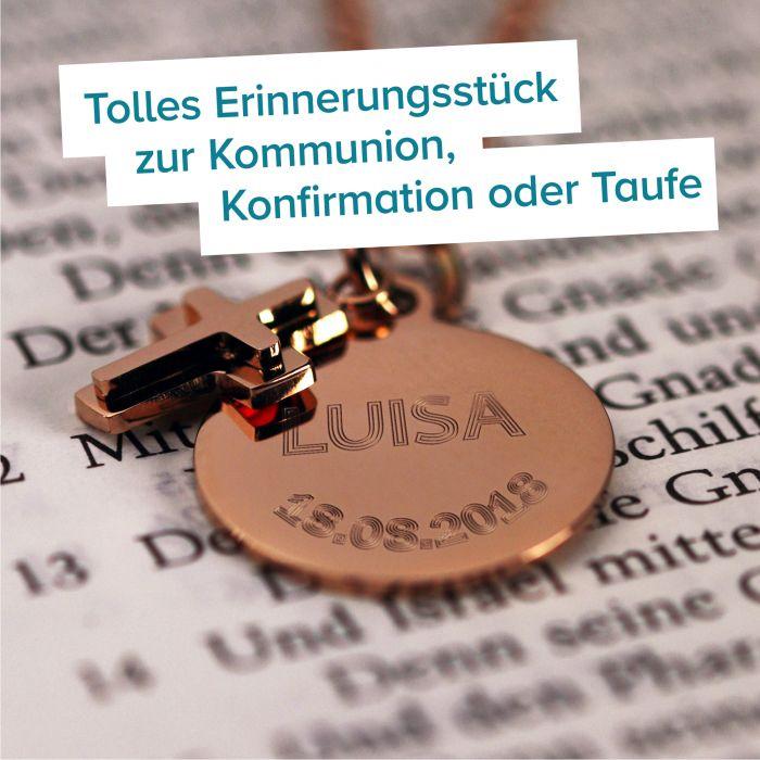 Runder Kettenanhänger mit Kreuz Rosegold - Name und Datum