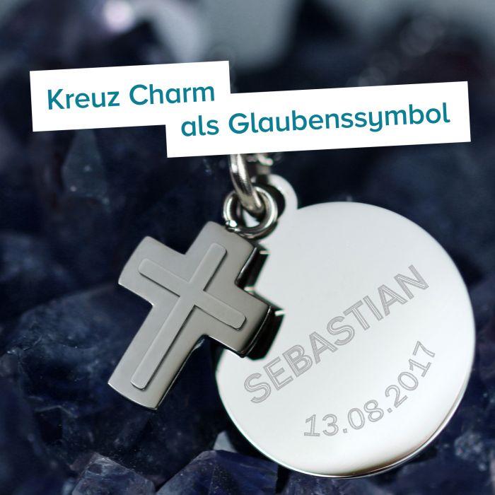 Runder Kettenanhänger mit Kreuz Silber - Name und Datum