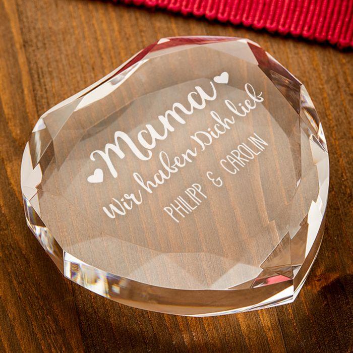 Herz-Diamant mit Gravur für Mama