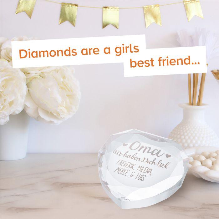 Herz-Diamant mit Gravur für Oma