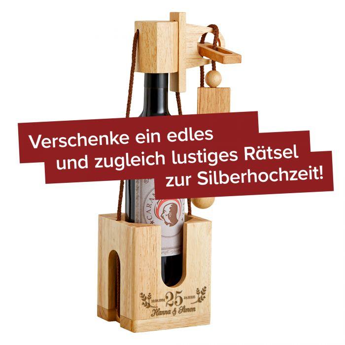 Graviertes Edelholz Flaschenpuzzle Hell zur Silberhochzeit