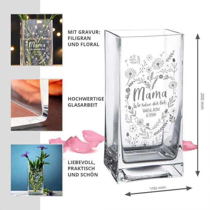 Vase mit Gravur - Blumenherz für Mama