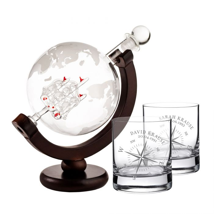 Set mit Globus Karaffe und 2 Whiskygläsern - Kompass Gravur