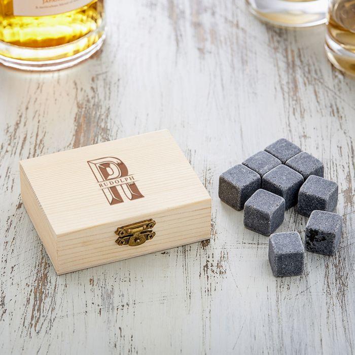 Whisky Steine in Holzkiste mit Gravur - XL Initialen
