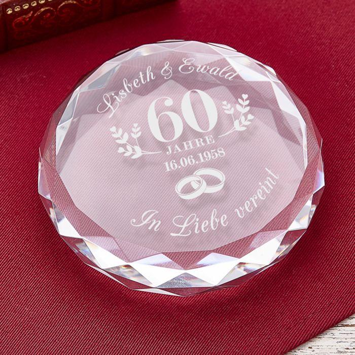Kristall mit Gravur zur diamantenen Hochzeit