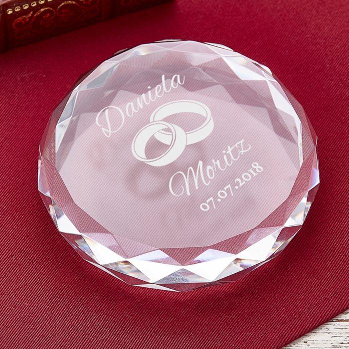Kristall mit Gravur zur Hochzeit