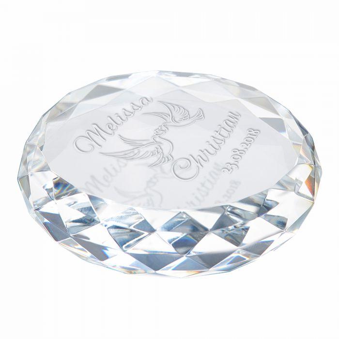 Kristall mit Gravur zur Hochzeit - Liebestauben