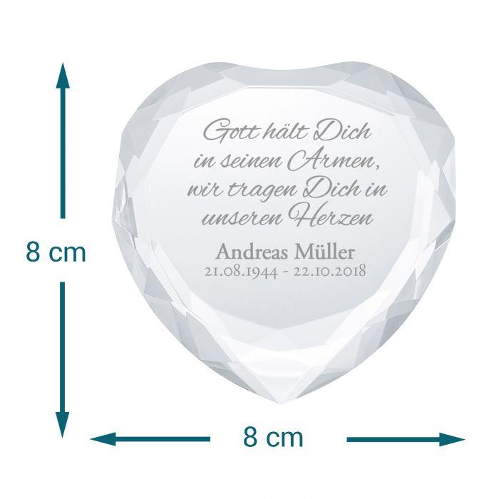 Herz-Diamant mit Gravur - Trauerspruch