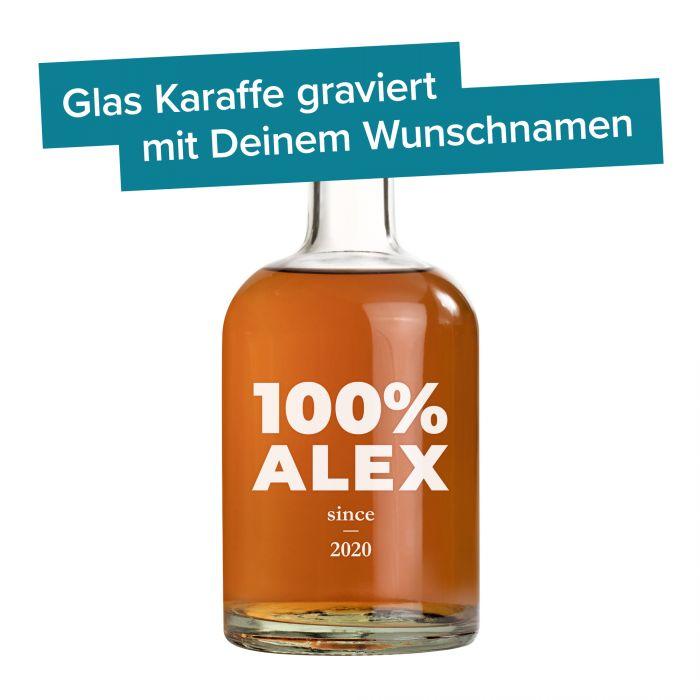 Glaskaraffe mit Gravur - 100% Name