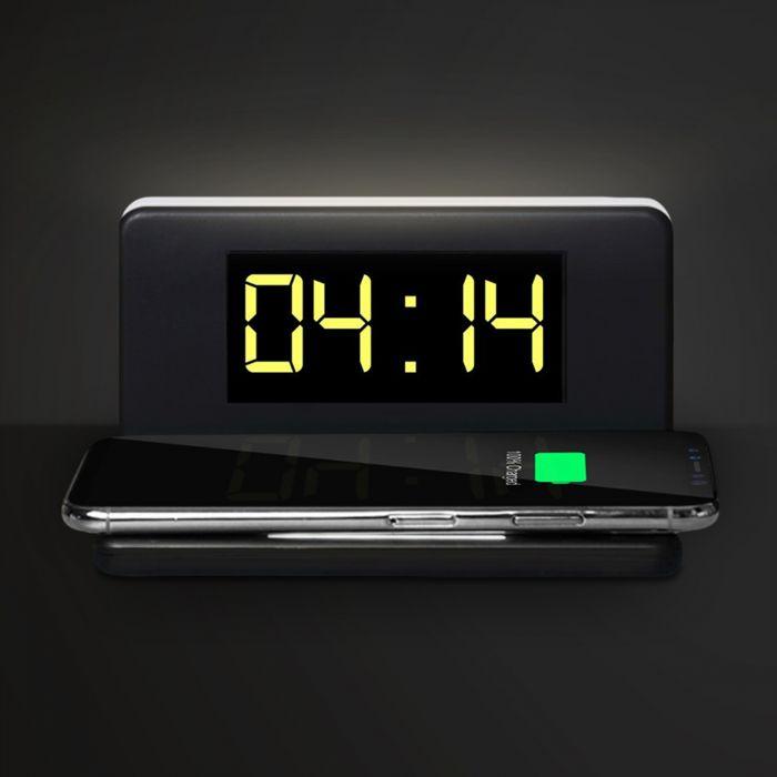 2in1 Digitaluhr mit Wecker und Ladestation für Smartphones