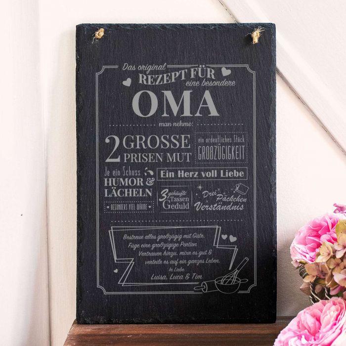 Große Schiefertafel mit Gravur - Rezept Oma
