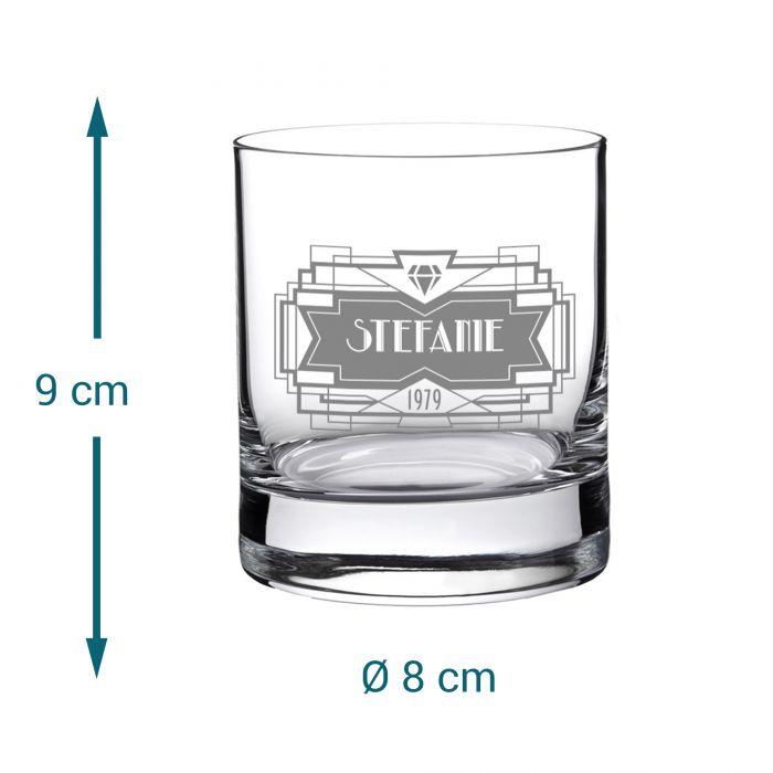 Set mit Diamant Karaffe und 2 Whiskygläsern mit Gravur