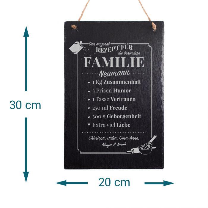 Große Schiefertafel mit Gravur - Rezept Familie