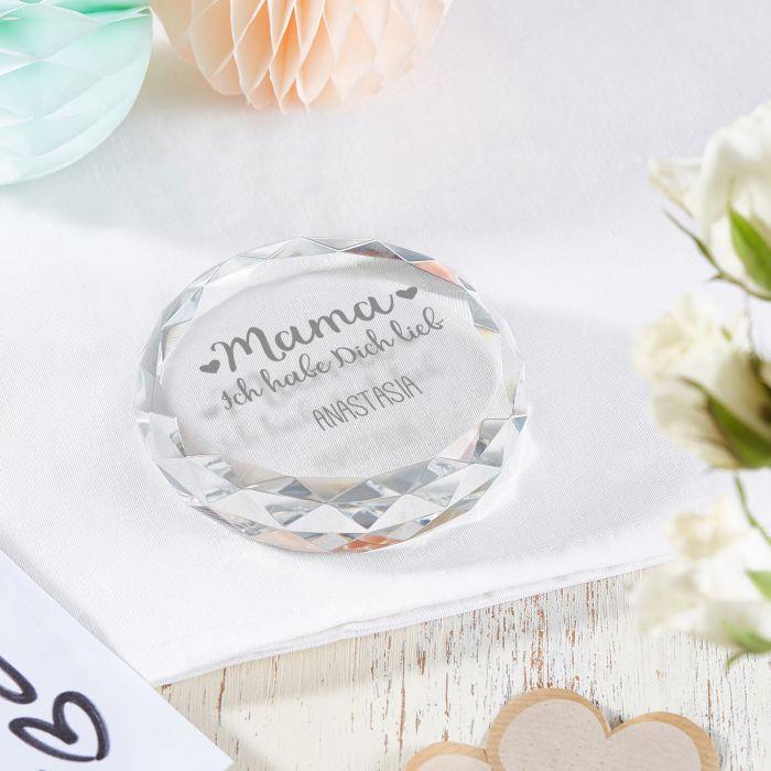 Kristall mit Gravur für Mama