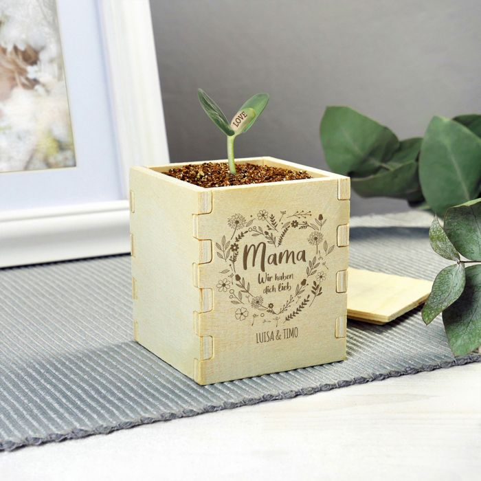 Zauberbohne mit Gravur - Blumenherz für Mama