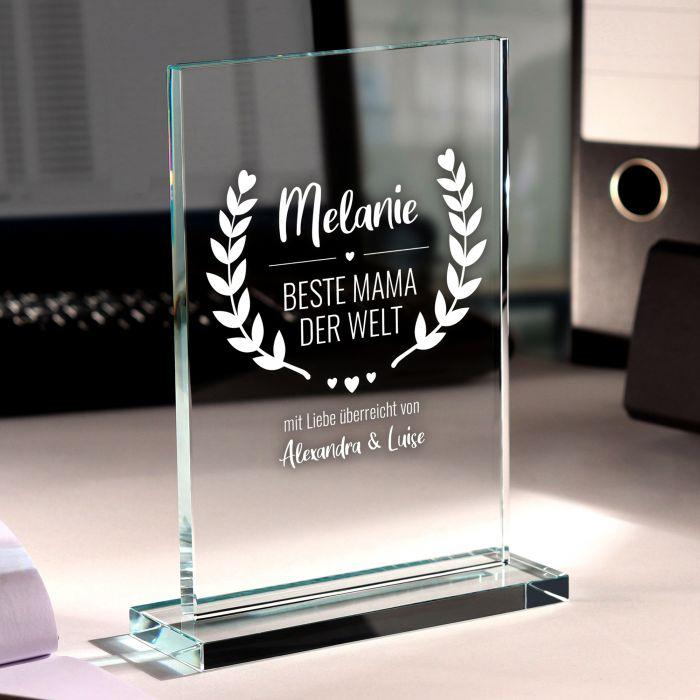 Personalisierter Glaspokal - Auszeichnung für Beste Mama