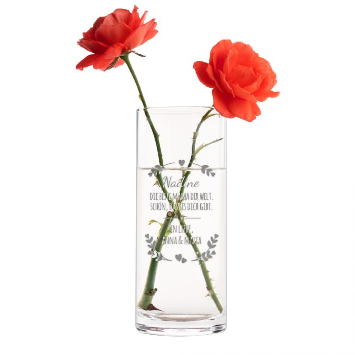 Runde Vase mit Gravur - Beste Mama