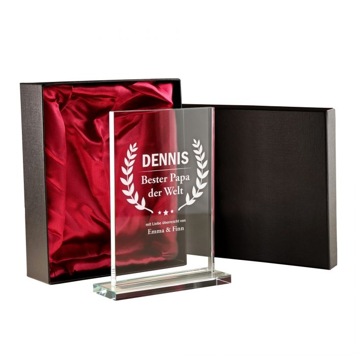 Personalisierter Glaspokal - Auszeichnung für Besten Papa