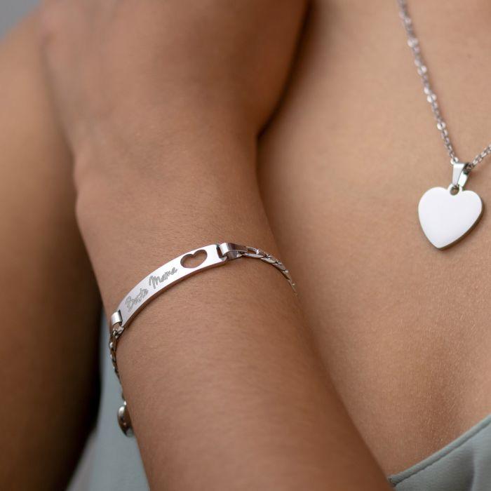 Silber Armband mit Herzstanze - Beste Mama