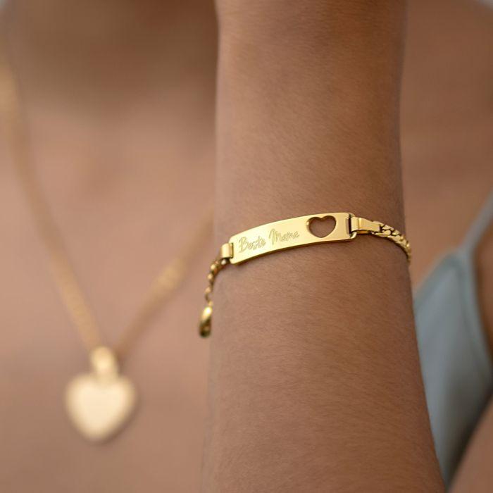 Gold Armband mit Herzstanze - Beste Mama